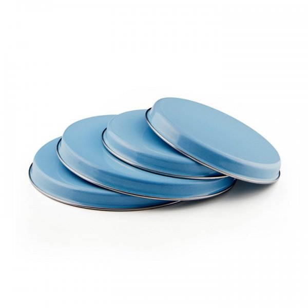 Emaille Herdabdeckplatte Set blau
