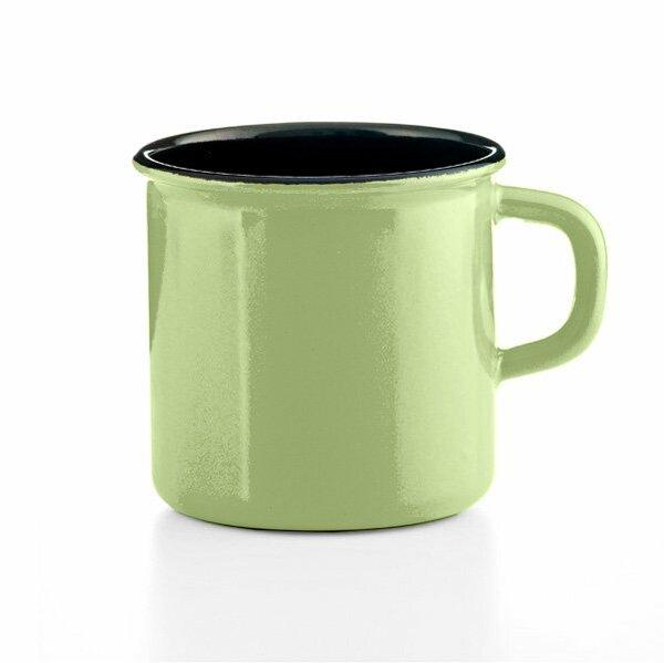 Riess Tasse Emaille Topf mit Bördel Color grün