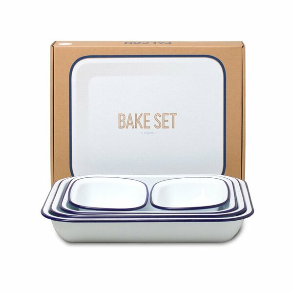 Falcon Emaille Bake Set weiß blau