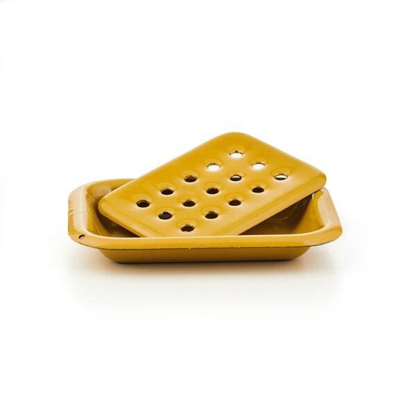 Emaille Seifenschale Seifendose honiggelb