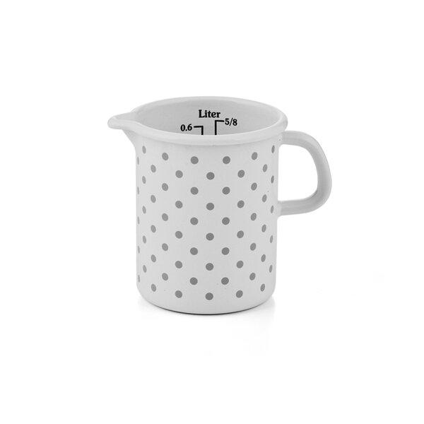 Riess Emaille Küchenmaß Litermaß Pünktchen Grau Meßbecher 0,5 Liter