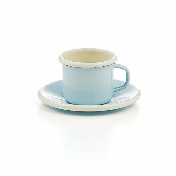 Emaille Espressotasse mit Unterteller hellblau