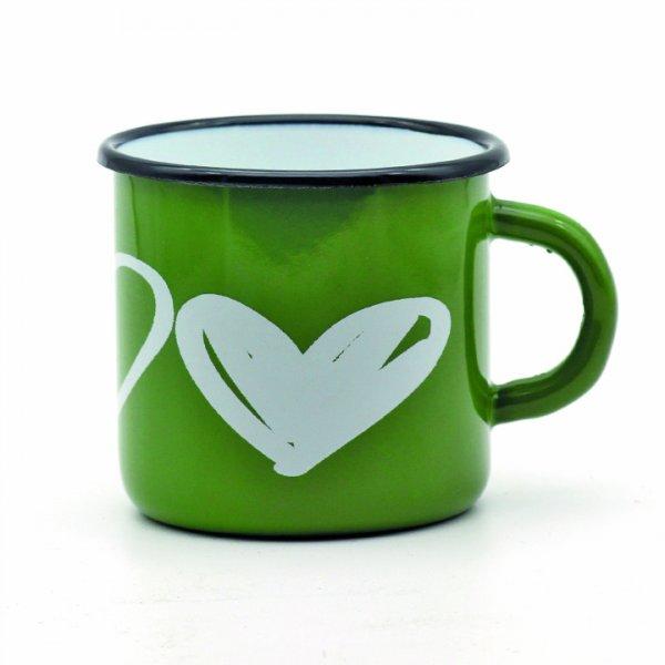 Emaille Tasse grün Herzen 350ml