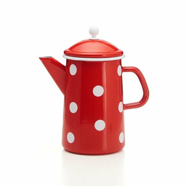 Emaille Kaffeekanne mit Knauf weiß Tupfen