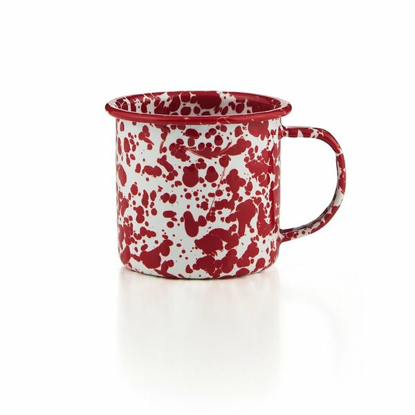 Crow Canyon Emaille Tasse roter Marmor 350ml