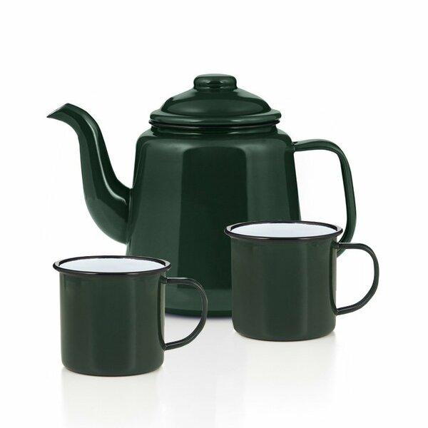 Emaille Teekanne Set grün