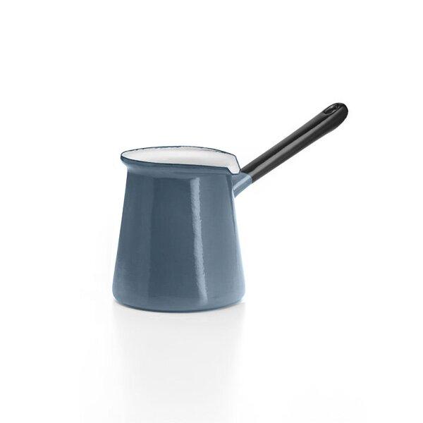Emaille Kännchen mit Stiel grau  Turkish Coffee Pot