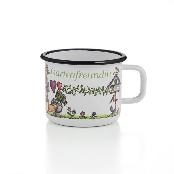Emaille Tasse Becher Gartenfreundin weiß mit schwarzem Rand Becher 400ml