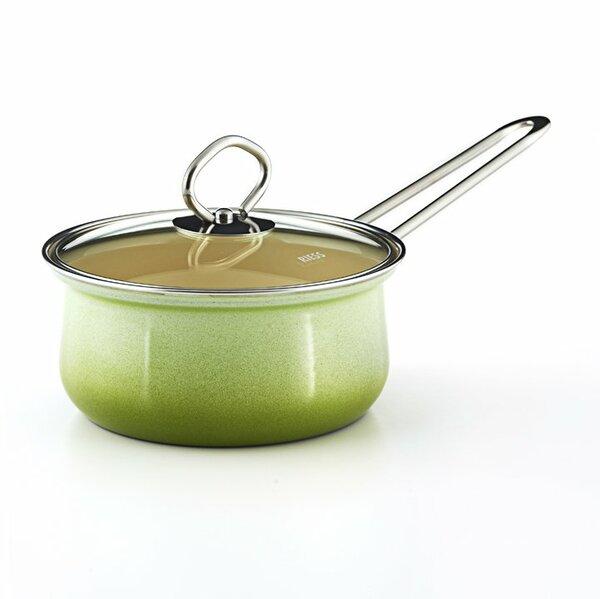Riess Emaill Stielkasserolle mit Glasdeckel Smaragd 1 Liter