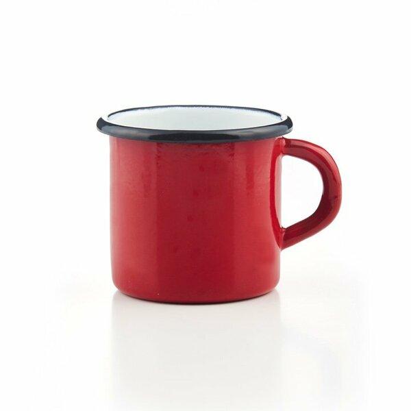 Emaille Tasse rot mit schwarzem Rand Becher