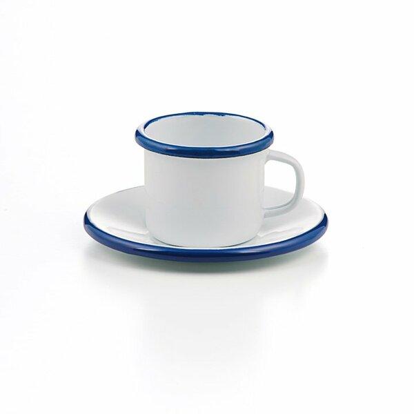 Emaille Espressotasse mit Unterteller weiß