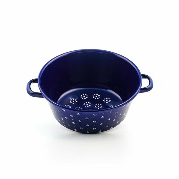 Riess Emaille Gemüsesieb Durchschlag 26cm Blümchenblau
