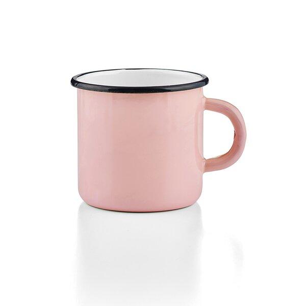 Emaille Tasse Becher rosa Emaiilebecher