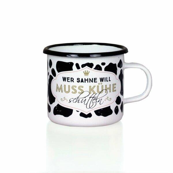 """Emaille Tasse Becher weiss mit schwarzem Rand """"Wer Sahne will muss Kühe schütteln"""""""