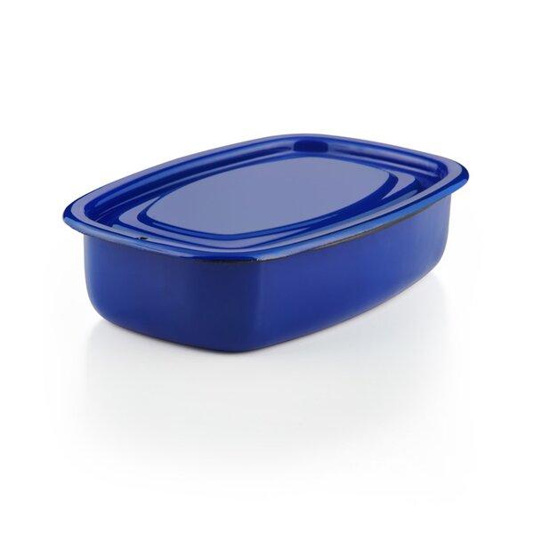 Emaille Auflaufform mit Deckel Vorratsbehälter dunkelblau Ofenschale Ofenform