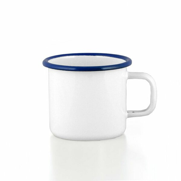Emaille  Tasse Becher weiß mit blauem Rand