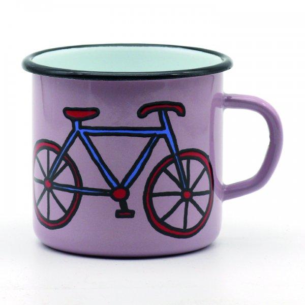 Emaille Tasse rosa Fahrrad 350ml