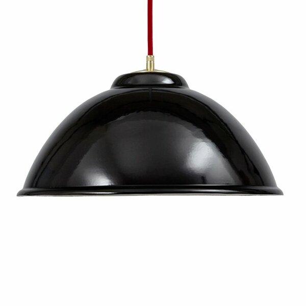 Emaille Lampe Emailleleuchte 34cm rotes Textilkabel