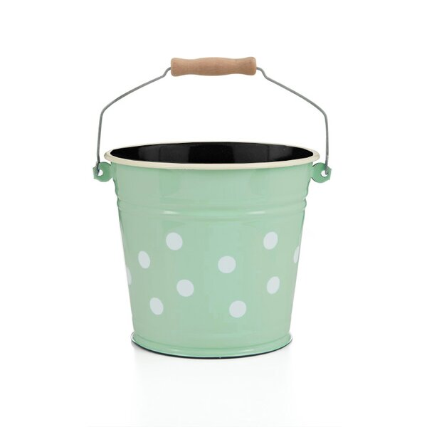 Emaille Eimer 6 Liter mintgrün mit weißen Punkten