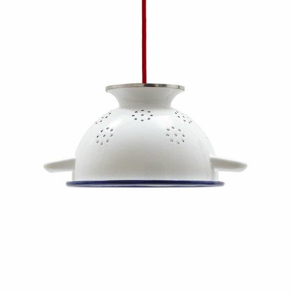 Emaille Lampe Emailleleuchte Durchschlag 22cm rotes Textilkabel
