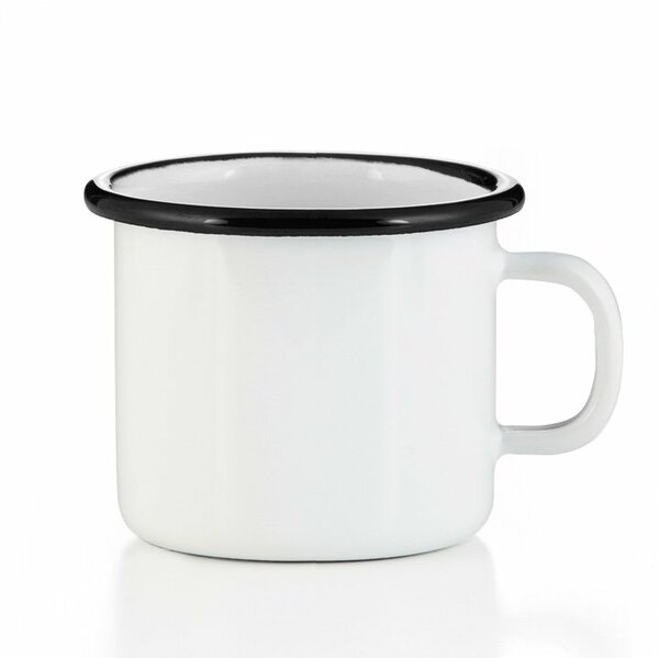 Emaille Tasse Becher weiß mit schwarzem Rand Becher 400ml