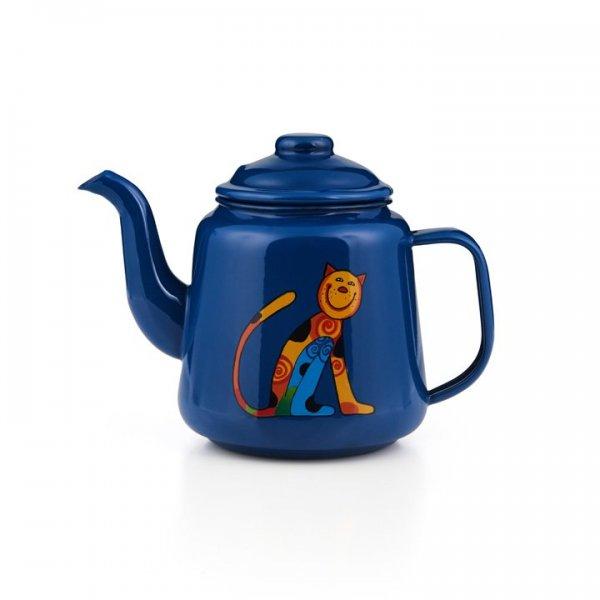 Emaille Kinder Teekanne Zoo blau