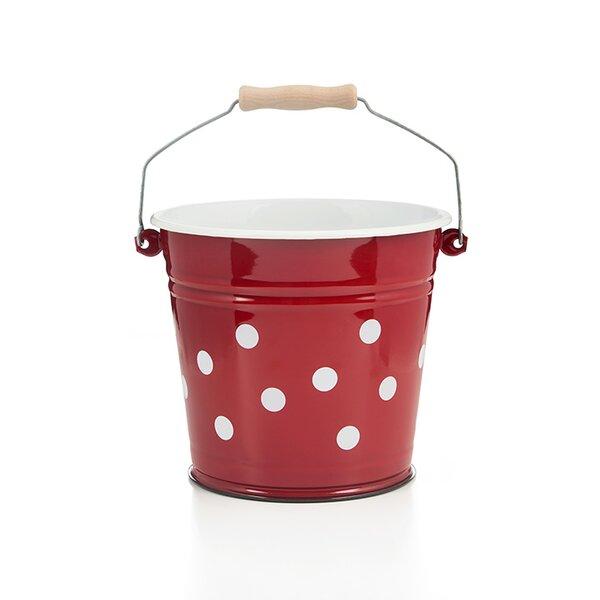 Emaille Eimer 6 Liter rot mit weißen Punkten