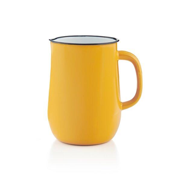 Emaille Wasserkanne, Wasserkrug, Krug, Vase gelb