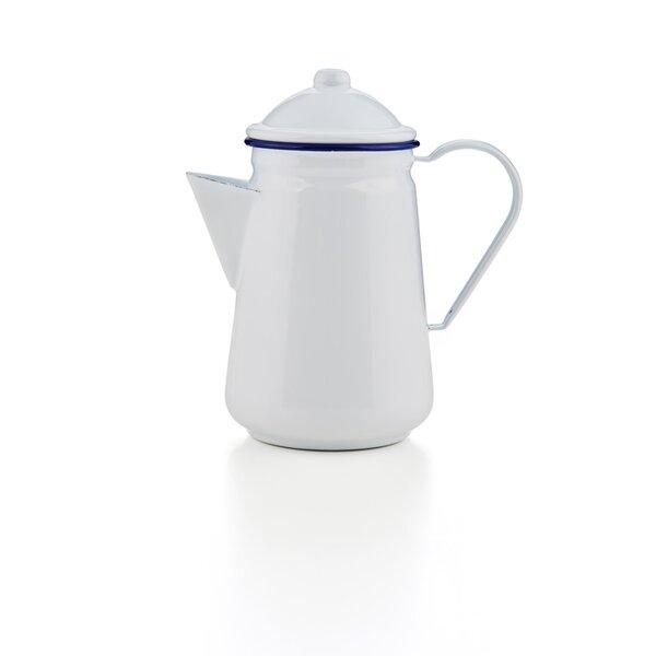 Emaille Kaffeekanne weiß dunkelblau