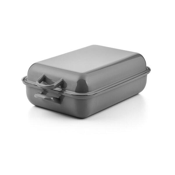 Emaille Riess Bräter Bratpfanne mit Deckel 37x26cm Pure Grey  grau