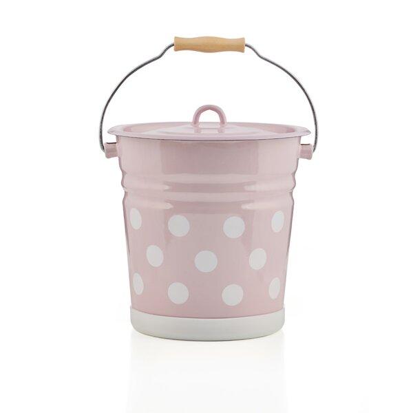 Emaille Eimer 12 Liter mit Deckel rosa mit Punkten
