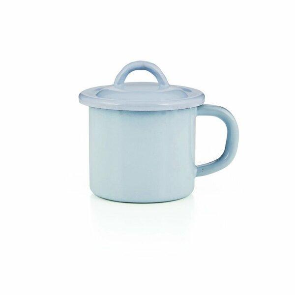 Emaille Tasse mit Deckel hellblau