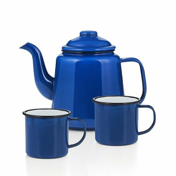Emaille Teekanne Set blau