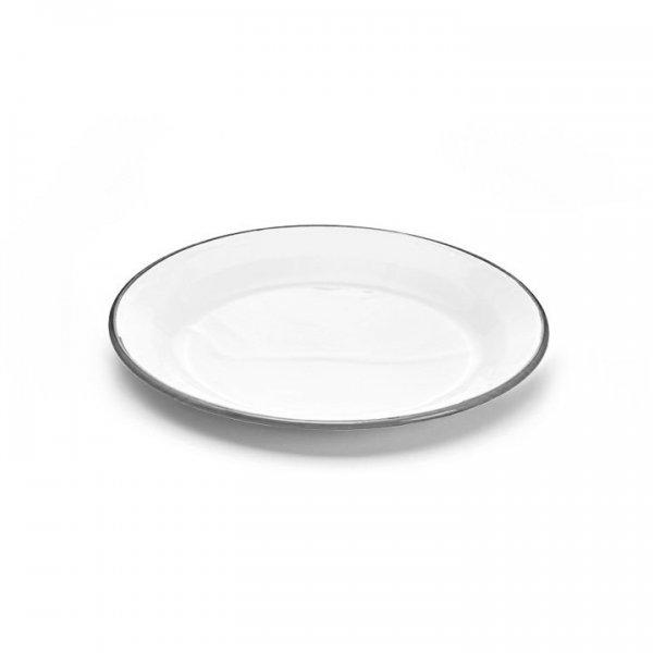 Emaille Teller 24cm weiß grau