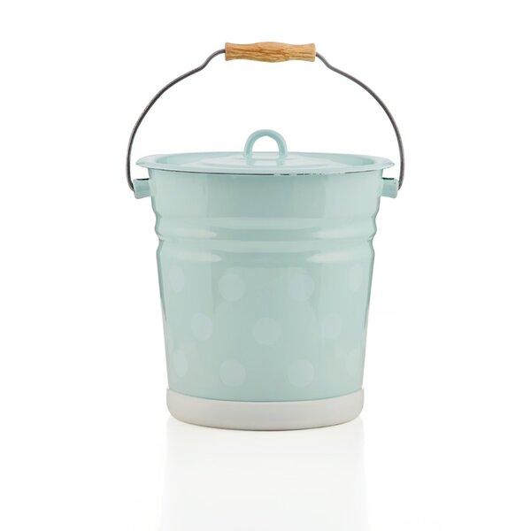 Emaille Eimer 12 Liter mit Deckel hellblau mit Punkten