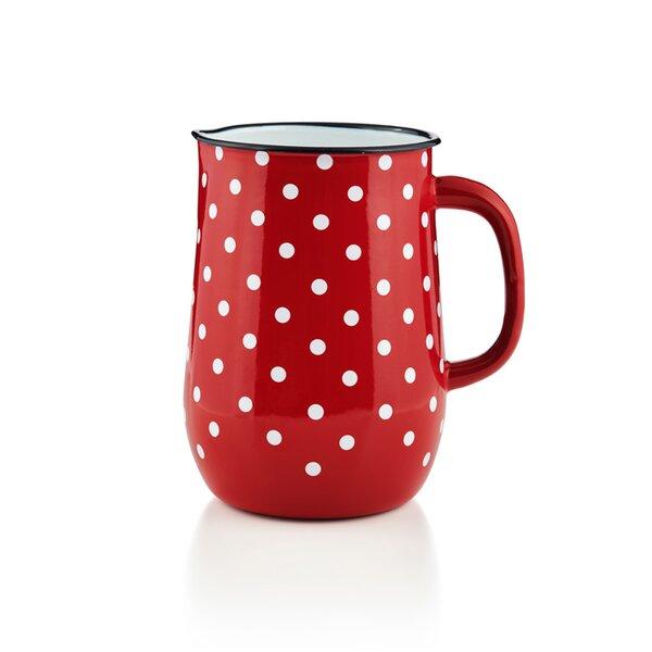 Emaille Wasserkanne, Wasserkrug, Krug, Vase rot mit weißen Punkten