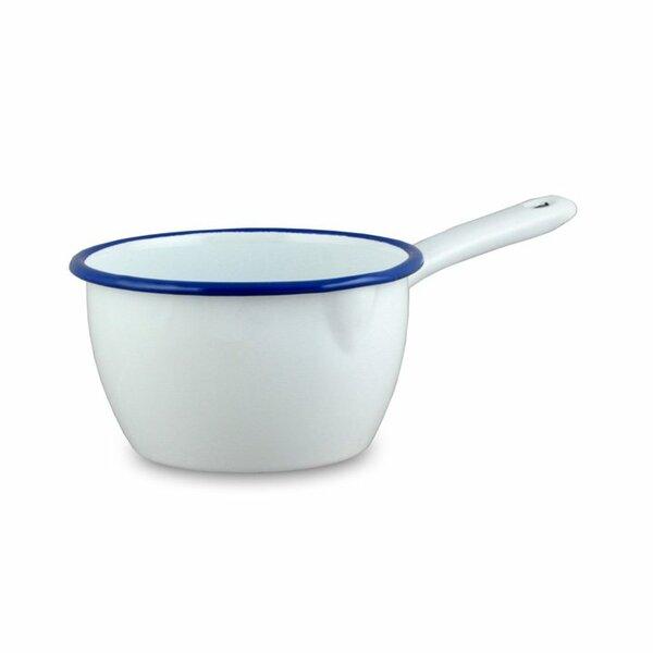 Emaille Stieltopf Stielkasserolle weiß mit blauem Rand