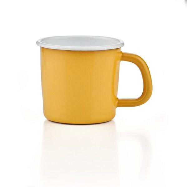 Emaille Tasse Becher Kaffeetasse campingtasse solid line gelb