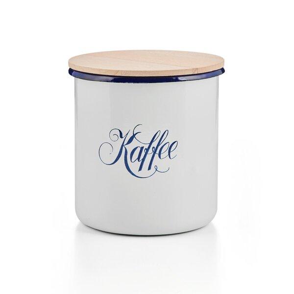 Emaille Kaffeedose Vorratsdose Dichtungsdose mit Holzdeckel