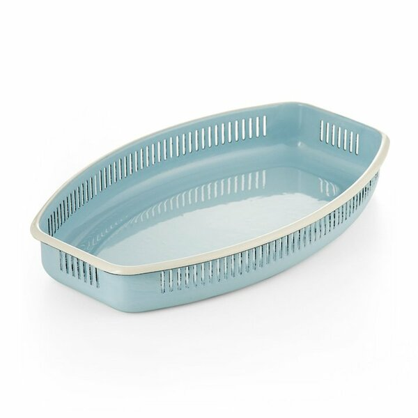 Emaille Brotkörbchen m. Seitenschlitzen hellblau