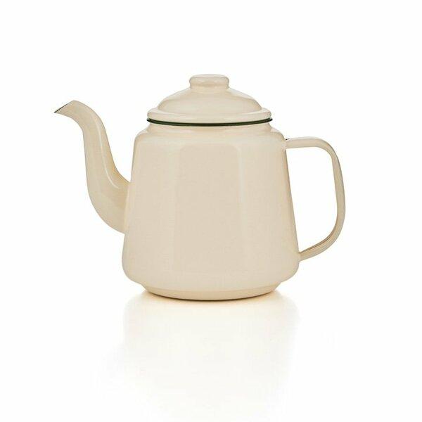 Emaille Teekanne 1,5 Liter creme / grün