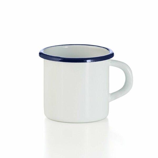 Emaille Tasse weiss mit blauem Rand Becher