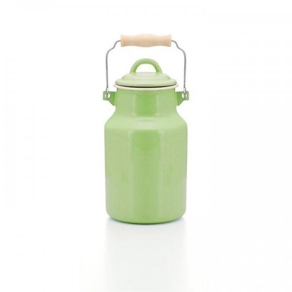 Emaille Milchkanne grün 2 Liter