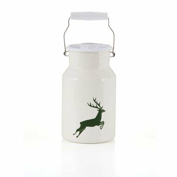 Emaille riess Milchkanne Hirsch grün 2 Liter