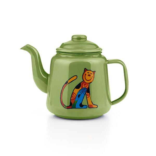 Emaille Kinder Teekanne Zoo hellgrün