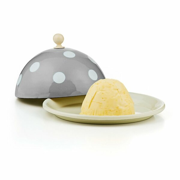 Emaille Butterglocke Butterdose grau mit weißen punkten