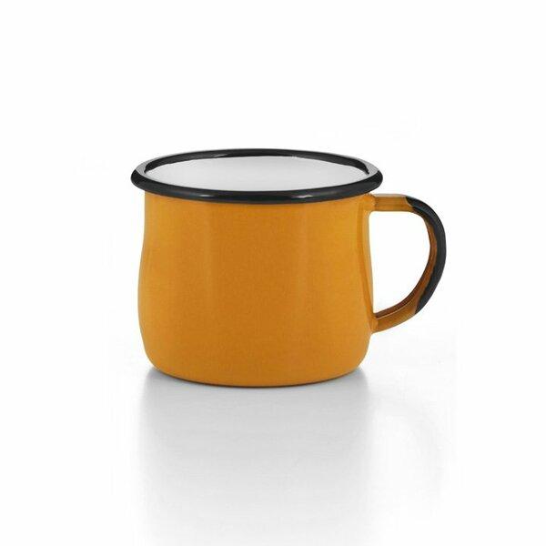 Emaille Tasse Becher gelb bauchig gebaucht