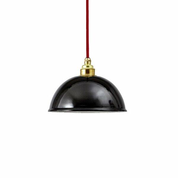 Emaille Lampe Emailleleuchte 20cm rotes Textilkabel