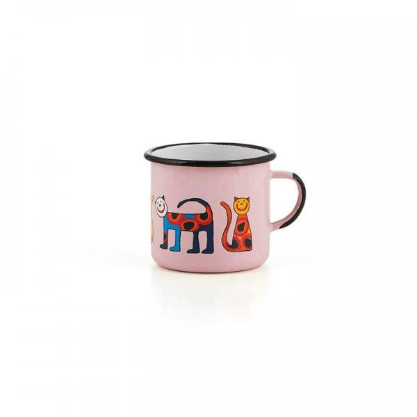 Emaille Kindertasse rosa Zoo