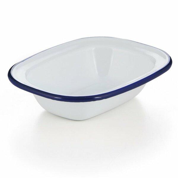 Emaille Ofenschale, Ofenform, Ofenschälchen weiß blauer Rand 32cm